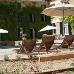 Luxury terrace and heated pool at Domaine Saint Hilaire